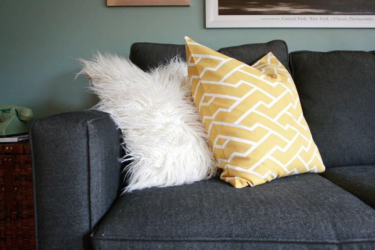 caitlin wilson textiles mustard city maze pillow