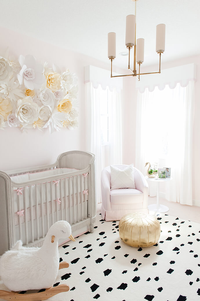 Caitlin wilson bright feminine nursery tour for Cuartos decorados para bebes