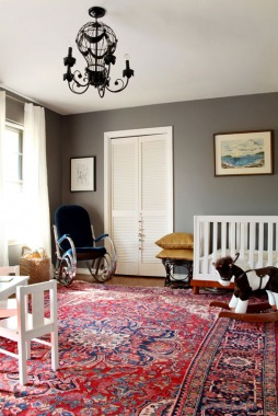 Persian Rugs Are Often Red And Blue  I Love The Charcoal Grey Walls With  This Rug. Fabulous!