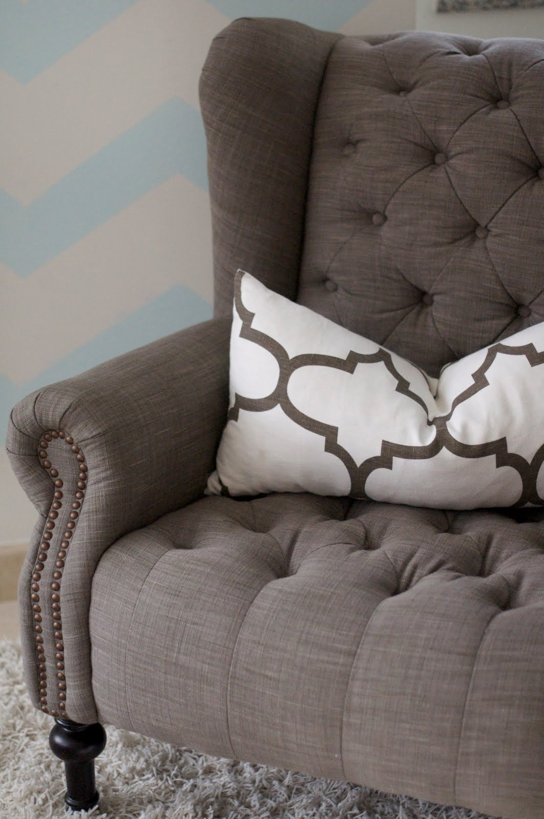Chevron wing chairs - New Tufted Wing Back